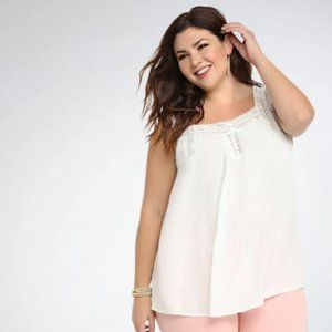 Torrid Embroidered Mesh Inset Tank Top Ivory White